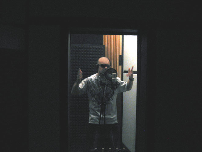 JB in vocal booth
